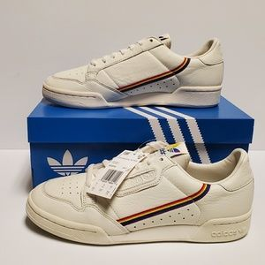 ADIDAS WHITE NATURAL CONTINENTAL 80 LGBTQ SHOES